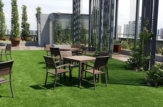 commercial roof garden with synthetic grass