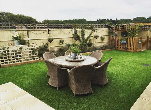 Patio set on artificial grass