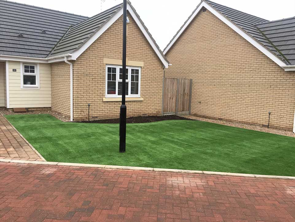 Artificial grass front garden